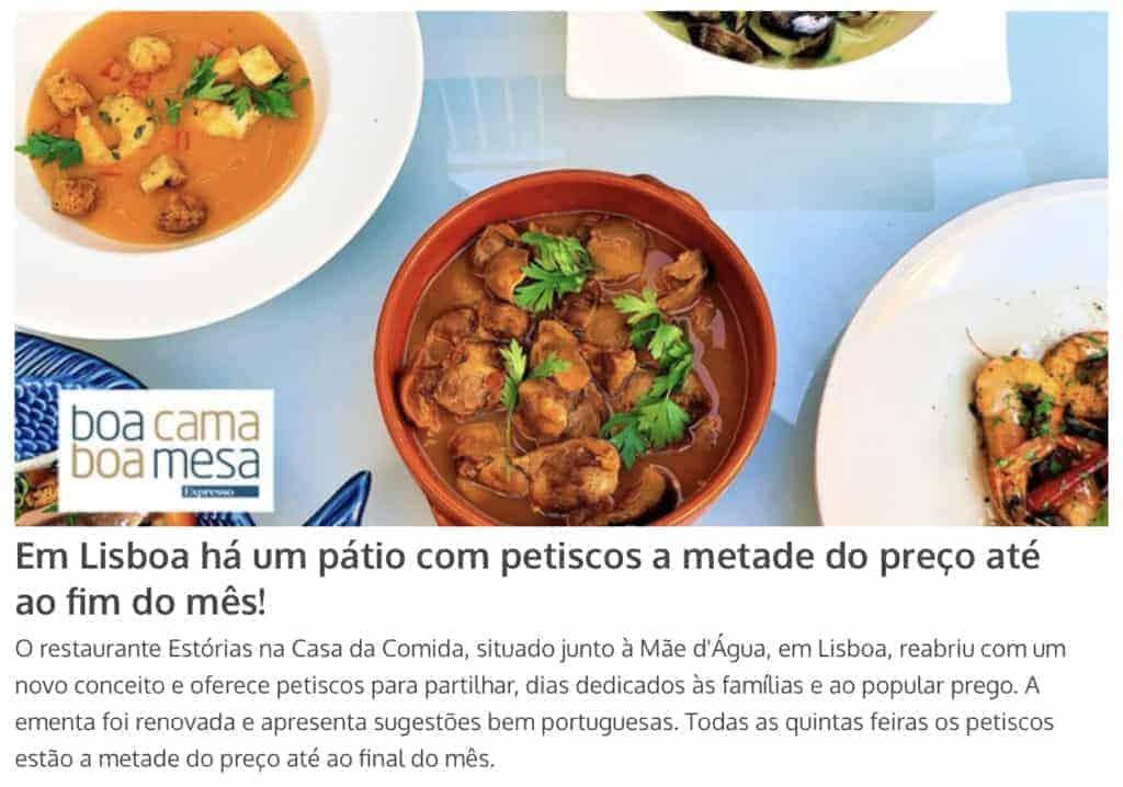 Notícia Boa Cama Boa Mesa Estórias Casa da Comida