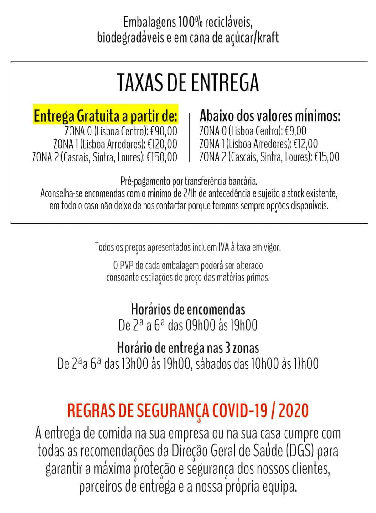 Taxas de Entrega