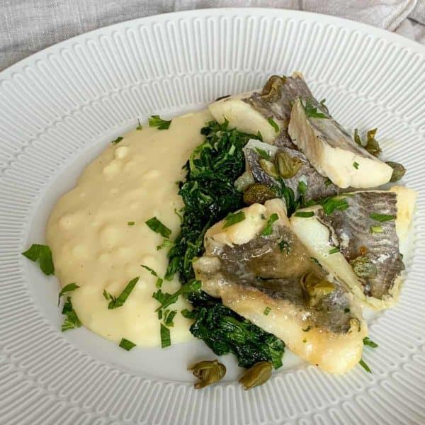 Peixe Galo com Puré de Batata e Espinafres